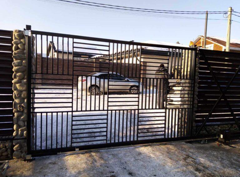 Установка откатных ворот в п. Хрустальный